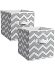 """DII Foldable Fabric Storage Containers for Nurseries, Offices, Closets, Home Decor, Cube Organizers & Everyday Storage Needs, (Large - 11 x 11 x 11"""") Chevron Grey - Set of 2"""