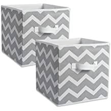 """DII Fabric Storage Bins for Nursery, Offices, & Home Organization, Containers Are Made To Fit Standard Cube Organizers (11x11x11"""") Chevron Gray - Set of 2"""