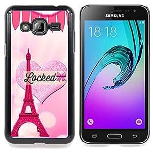 For Samsung Galaxy J3(2016) J320F J320P J320M J320Y Case , Corazón rosado del amor de la torre Eiffel de París - Diseño Patrón Teléfono Caso Cubierta Case Bumper Duro Protección Case Cover Funda