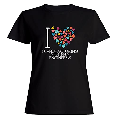 Idakoos love Manufacturing Systems Engineers colorful hearts Maglietta donna