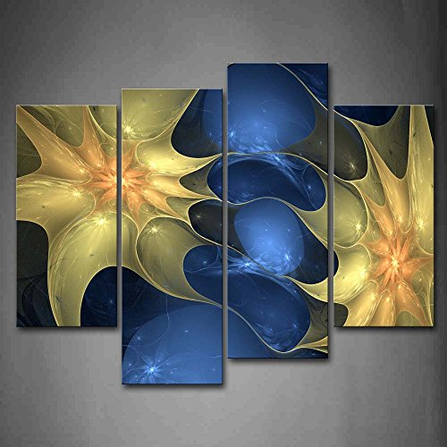 First Wall Art - Abstract Blue Like Yellow Flower Wall Art Painting The Picture Print On Canvas Abstract Pictures For Home Decor Decoration Gift