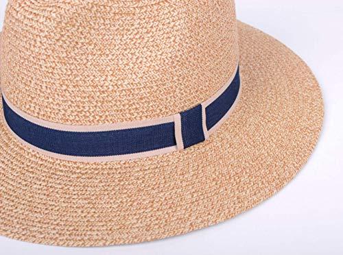 77b8e26e6623a Lanzom Women Wide Brim Straw Panama Roll up Hat Fedora Beach Sun Hat UPF50+  (Y
