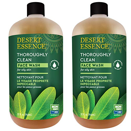 Desert Essence Thoroughly Clean Face Wash - Original - 32 Fl Oz - Pack of 2 -Tea Tree Oil -For Soft Radiant Skin - Gentle Cleanser - Extracts Of Goldenseal, Awapuhi, & Chamomile Essential Oils (Desert Essences Face Wash)