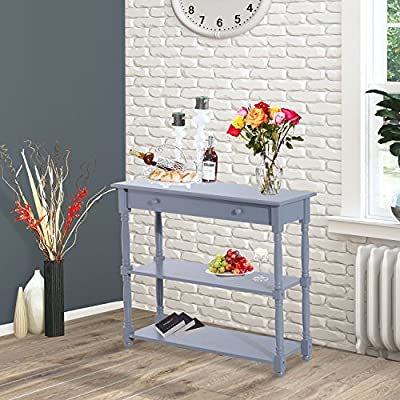 New MTN-G 3-tier Accent Sofa Console Table Wood Hallway Entryway Bookshelf Home Furniture-Gray