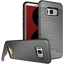 Galaxy S8 Plus Case, Galaxy S8+ Case, MCUK [Brushed Texture] Hybrid Defender Shockproof Rubber Bumper Case Hard Cover Skin with Card Slot and Kickstand for Galaxy S8 Plus / Galaxy S8+ (Grey)