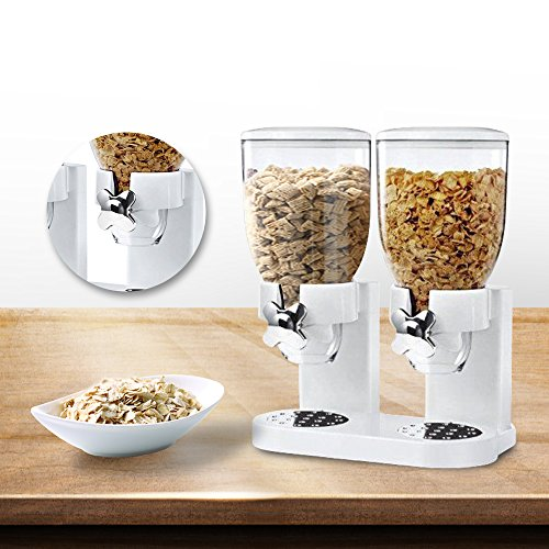 Indispensable Dry Food Dispenser (Double Cereal Dispenser Dry Food Storage Container Machine White)