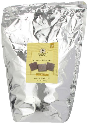 SCHARFFEN BERGER Baking Chocolate Squares, 62% Cacao Semisweet Dark Chocolate Squares, 5 Pound Package