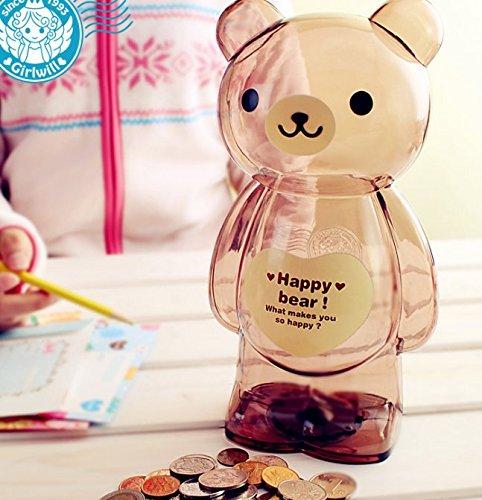 KEANER Cartoon Plastic Animal Piggy Bank Children Saving Box (Brown Bear)