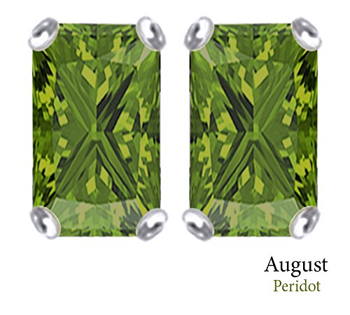7x5mm Earring Peridot Emerald Cut (7x5mm Emerald Cut Simulated Peridot Stud Earrings in 14k White Gold Over Sterling Silver)