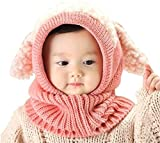 Baby Girls Boys Winter Hat Scarf Earflap Hood Scarves Caps (Pink)