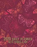 2020 Daily Planner with Sudoku a Day: Red Pink Butterflies Planning by Day Calendar Jan-Dec 2020