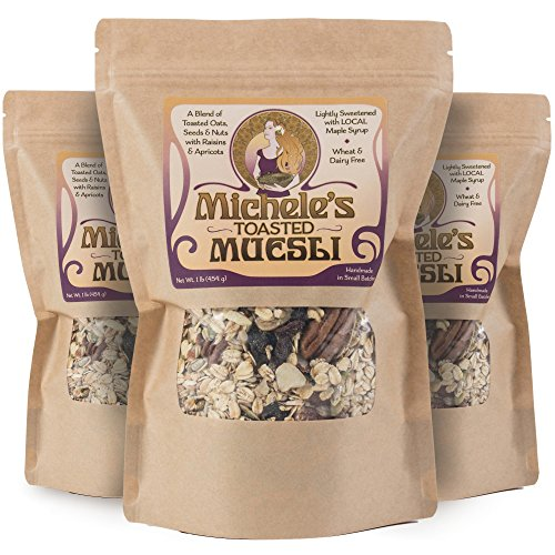 Michele's Granola Muesli, Toasted Muesli Cereal, 16 Oz Package, Pack of 3