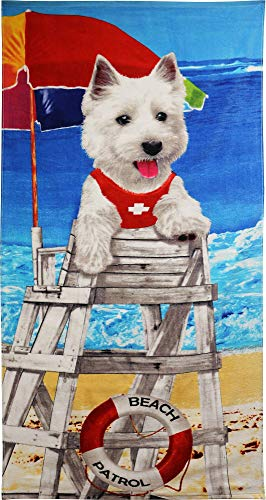 (JGR Copa White Terrier Lifeguard Dog on Duty Beach Towel)