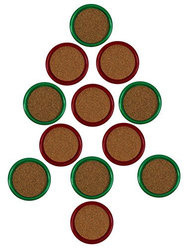 Center Coaster - Gessner Thirsty Christmas Coasters With Cork Centers - Green And Red - 12 Coasters