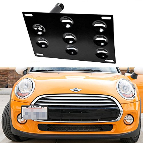 iJDMTOY Euro Style Front Bumper Tow Hole Adapter License Plate Mounting Bracket For MINI Cooper 3rd Gen F55 F56 Cooper Hardtop/Hatch