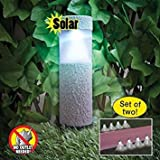 Solar Powered Outdoor Stone-Look Cordless Light Stakes