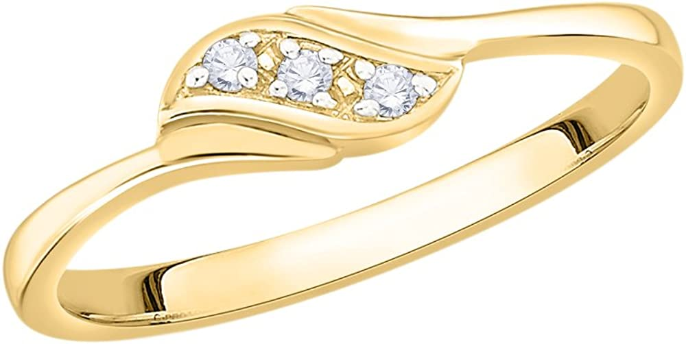 G-H,I2-I3 Size-10 1//20 cttw, 3 Diamond Promise Ring in 10K Yellow Gold