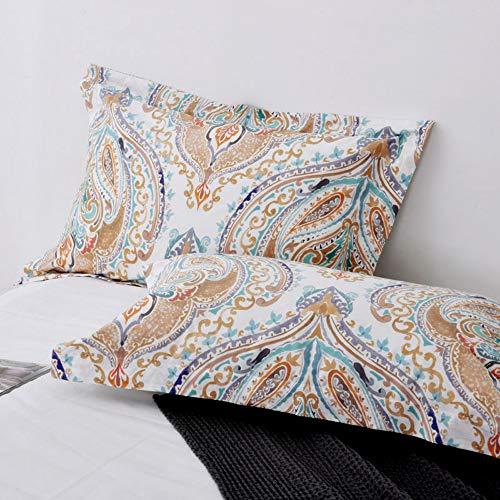 (TEALP Pillowcases Standard Size Paisley Pillow Shams Bohemian Boho Chic Moroccan Pillow Protectors Damask Bedding 100% Cotton Pack of 2 20