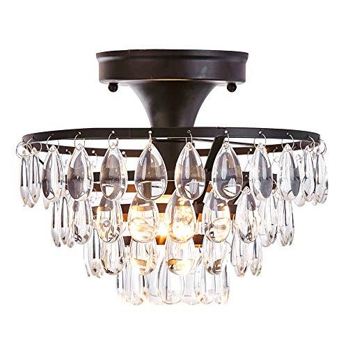 FERWVEW Black Crystal Ceiling Light, Flush Mount Ceiling Light Fixture Ceiling Lamp with Crystal Beads for Bedroom Hallway Living Room Kitchen...