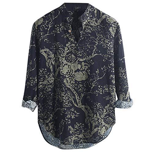 (Beauty&YOP Mens Cotton Linen Shirts Beach Short Sleeve Printing Button Up Tops Lightweight Tees Plain Summer Blouses Coffee)