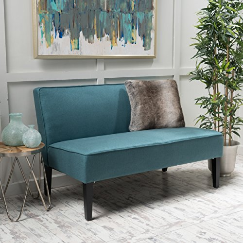 Christopher Knight Home 299746 Charlotte Dark Teal Fabric Love Seat (Patio Sofa Sleeper)