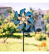 "Stargarden 47"" Solar Metal Wind Spinners Indoor Outdoor Decor, Multi-Color LED Lighting Wind Scul..."