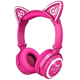 Mindkoo Kids Headphones Over Ear - Wireless Bluetooth Cat Ear Headset with 4 Modes LED Glowing Light, 3.5mm Aux Jack, Soft Earmuff and Headband Cushion, Foldable, Hot Pink