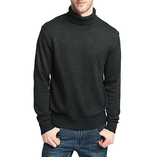 Kallspin Men's Merino Wool Blend Relax Fit Turtle Neck Sweater Pullover (XL, Dark Grey) ()