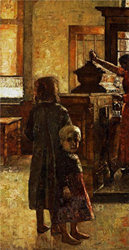 Oil Painting 'Lesser Ury-Estaminet - Flemish Tavern,1884', 30 x 58 inch / 76 x 148 cm , on High Definition HD canvas prints is for Gifts And Dining Room, Home - Eyeglass Apple Bottom Frames