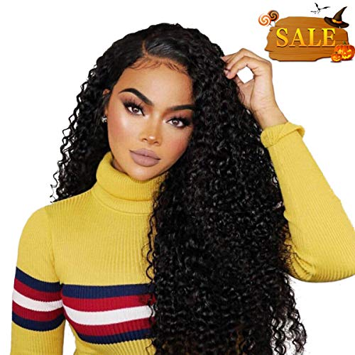 Cheap Wigs Online (Beauty On Line 100% Human Hair Wigs Brazilian Kinky Curly 3 Part 4x4 Lace Closure Wigs For Women Bleached Knots 130% Density (16