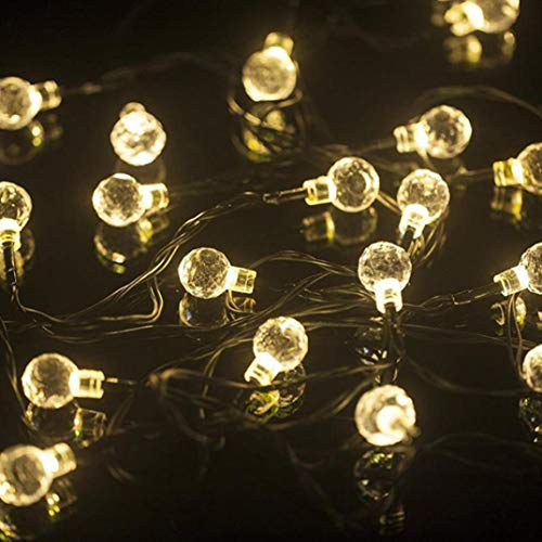 H+K+L 6.5M 30LED Solar Crystal ball Copper Wire light string Christmas Wedding Party Decoration (yellow) by H+K+L