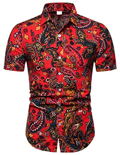 Men's Paisley Print Button Down Short Sleeve Floral Shirt Tops, 7# Floral, Large(Slim Fit) = Tag 2XL
