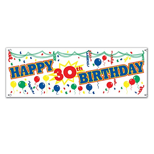 Happy 30th Birthday Sign Banner Party Accessory (1 count) (1/Pkg)