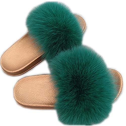 Women Real Fox Fur Slippers Fashion Slides Flat Glod Soft Summer Shoes for Girls,7MUS,Green -