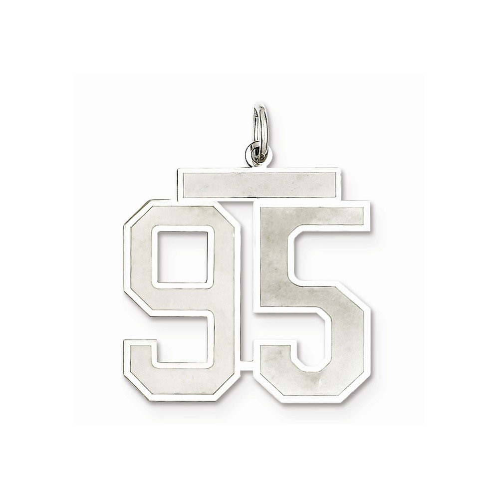 925 Sterling Silver Large Satin Number 95 Charm and Pendant