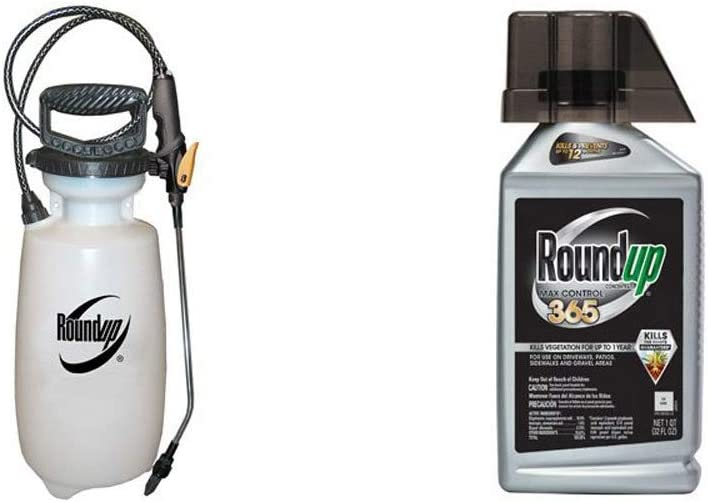 Roundup 190260 2-Gallon Lawn and Garden Sprayer for Controlling Insects and Weeds or Cleaning Decks and Siding with Max Control 365 Concentrate, 32-Ounce