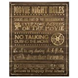 Movie Night Rules Wood Wall Theater Media Room Man Cave Wall Decoration