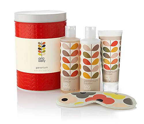 Orla Kiely Geranium Bath & Body Gift Set in Red Tin - NEW...