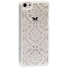 GreatShield TACT Design Ultra Slim Fit [DAMASK Pattern] Protective Hard Rubber Coating Back Case Cover for Apple iPhone 5C 2013 (White)