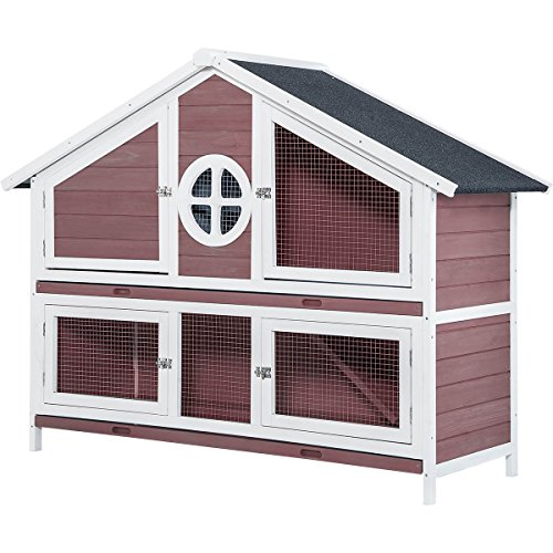 Purlove Rabbit Hutch Wood House Pet Cage Small Animals (Rabbit