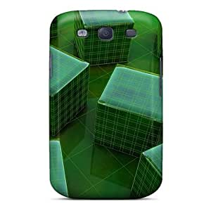 Faddish Phone Green 3d Cubes Cases For Galaxy S3 / Perfect Cases Covers
