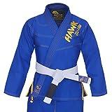 Hawk Brazilian Jiu Jitsu Suit BJJ Gi Kimonos BJJ Uniform Preshrunk Pearl Weave Fabric, with Free White Belt A4 Blue