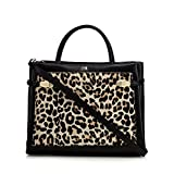 Cavalli Class Womens Black Leather Leopard Print Grab Bag