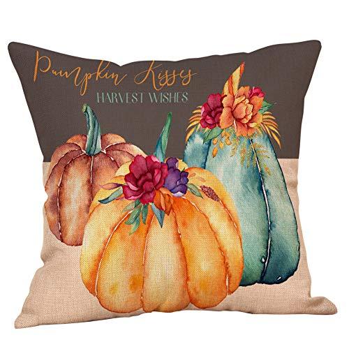 I613 Fall Halloween Pumpkin Pillow Cover Home Car Bed Sofa Decorative Letter Pillow Case Cushion Cover (Trellis Chain)