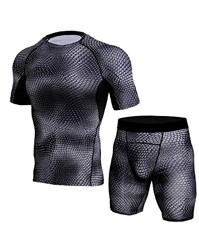 Mens Workout Clothes with Compression Pants Summer Breathable Gym Suit Close Fitting Sets Black2 S
