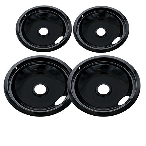 Kitchen Basics 101 Porcelain Drip Pan Set Replacement for Frigidaire Kenmore 5304430150, 318067051, 318067051