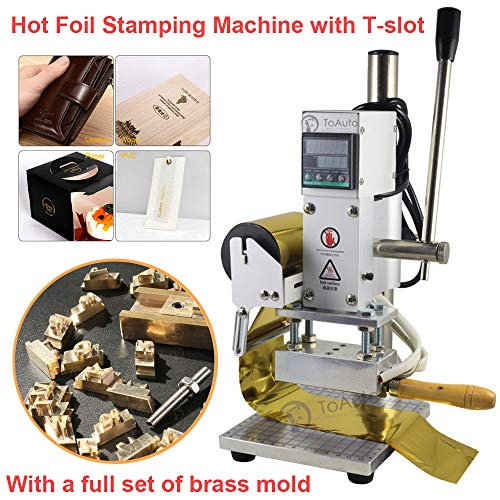 (Hot Foil Stamping Machine 6x9cm with T-Slot and Full Set of Mold 110V Tipper Bronzing Machine for PVC Leather PU Paper Wood Stamping (6x9cm + Mold))