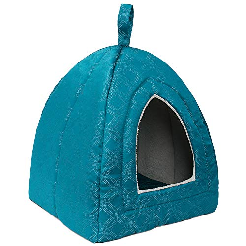 Hollypet Self-Warming 2-in-1 Foldable Comfortable Triangle Cat Bed Tent House, Blue ()