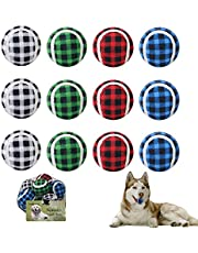 SCENEREALSqueaky Tennis Balls for Dogs-12 Pack Interactive Rubber Ball, 2.5 Inches Dog Fetch Balls for Small/Medium/Large Breeds.