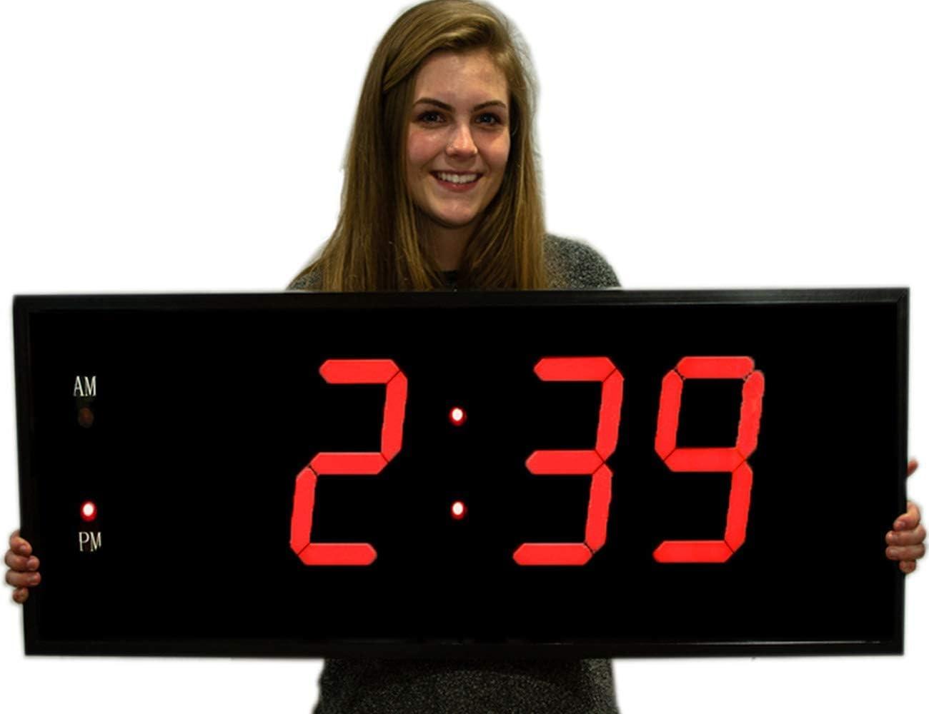 Big Time Clocks - Reloj digital de pared LED con mando a distancia: Amazon.es: Hogar